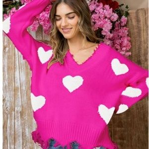 Sweaters - VALENTINES DAY HEART SWEATERS HOT PINK